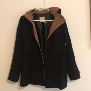 Black and brown fall peacoat